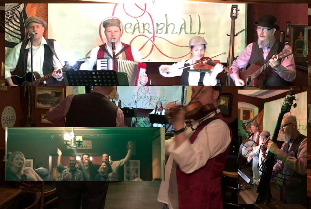 Collage aus drei Bildern. Die Band vor dem Mearbhall Banner auf der Bühne im James Joyce Irish Pub Bonn. Rechts ein Bildeinschub auf der man die Musiker von der Seite sieht. Unten links Fans, die jublend die Hände in die Höhe recken. Hinter alle Bildern ein Bild in dem man die Bühne von weitem sieht und die Musiker verteilt im Raum sind.